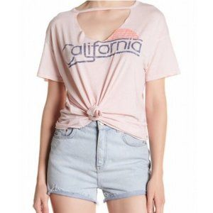 Sundry Pink California Choker Cut Out T-Shirt